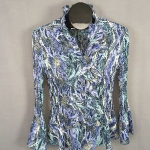Sunny Leigh Button Ruffled Blouse Top Large Blue